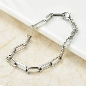 Chain link stainless steel paper clip bracelet